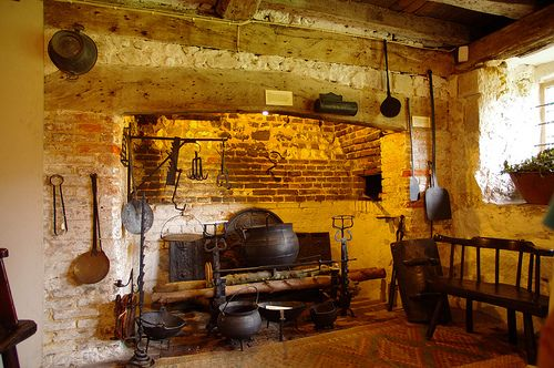STRUCTURE:::  KITCHEN:::  TOOLS::  Anne of Cleves House, with victorian images of same kitchen, which was overhauled/set back to medieval period.