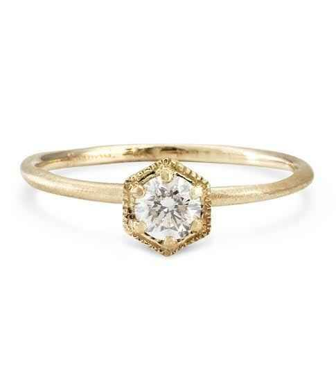 This simple and sparkling hexagon diamond ring: