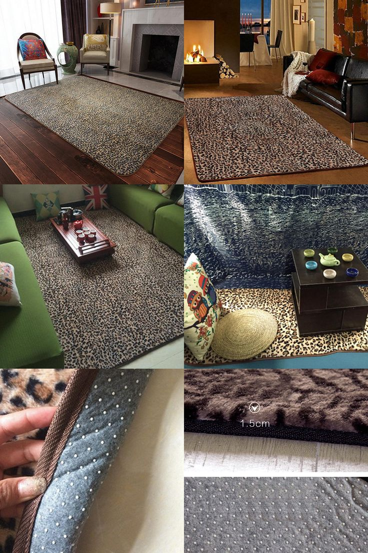 [Visit to Buy] yazi Fashion Leopard Print Large Carpet Polyester Plush Soft Baby Kid Play Mat Area Rug Home Living Room Floor Decor #Advertisement