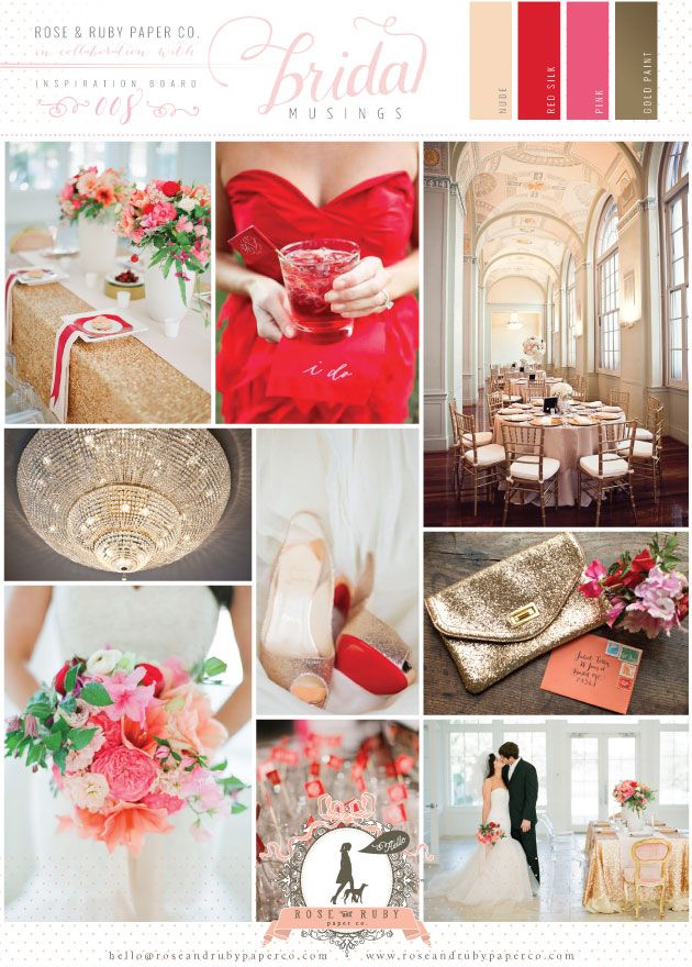 red, pink and gold wedding inspiration board - such a pretty, playful and modern colour palette!