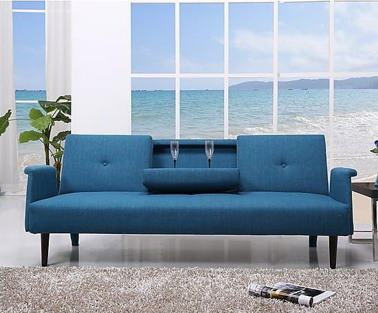 sof cama de polipiel azul largo 196 cm alto 77 cm