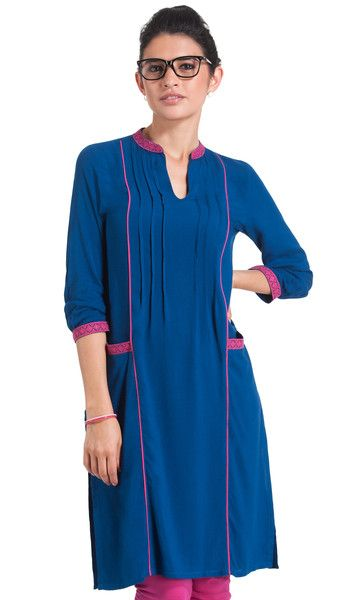 Blue with Pink Work Wear Rayon Kurti