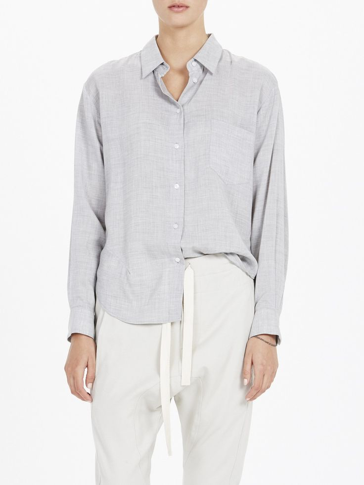 cupro dart detail shirt / grey marl