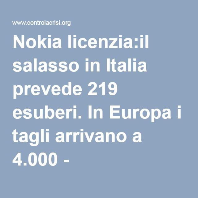 Nokia licenzia:il salasso in Italia prevede 219 esuberi. In Europa i tagli arrivano a 4.000 - ControLaCrisi.org