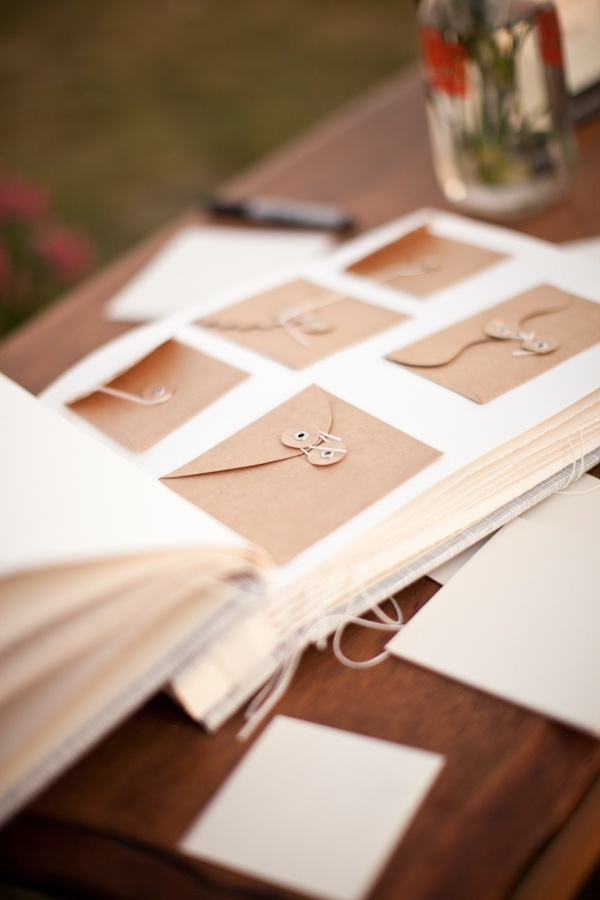 Guestbook empty envelops and cards