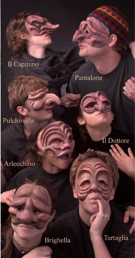 These are some of the typical masks of the characters of Commedia. You could really tell which character was which based on their masks.