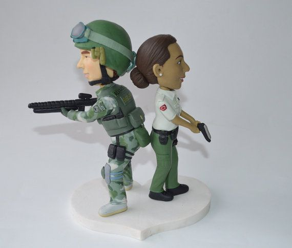 Combat soldiers wedding cake topper by Vivantopperstudio on Etsy