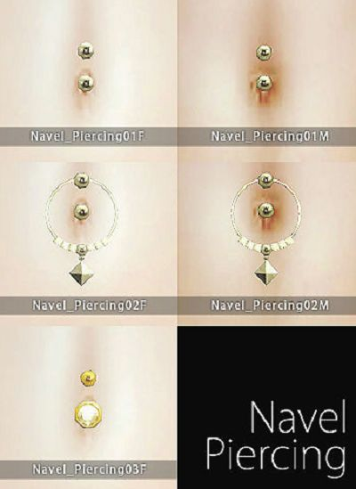 Sims 4 CC's - The Best: Navel Piercings for Males and Females by Hal's Arc...