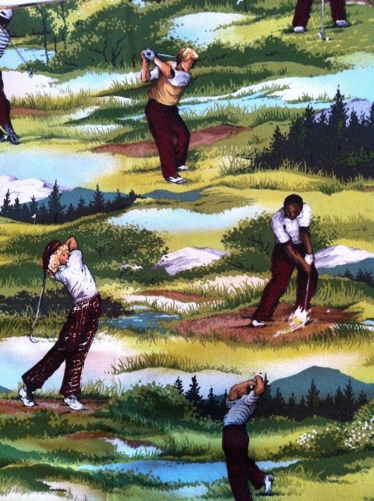 Fabric Golf Shower Curtain Golfer Theme Decor Bathroom Made W Andover  Material