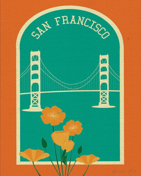 San Francisco Golden Gate Bridge and Poppies Poster Print - Wall Art for Home, Office, and Nursery