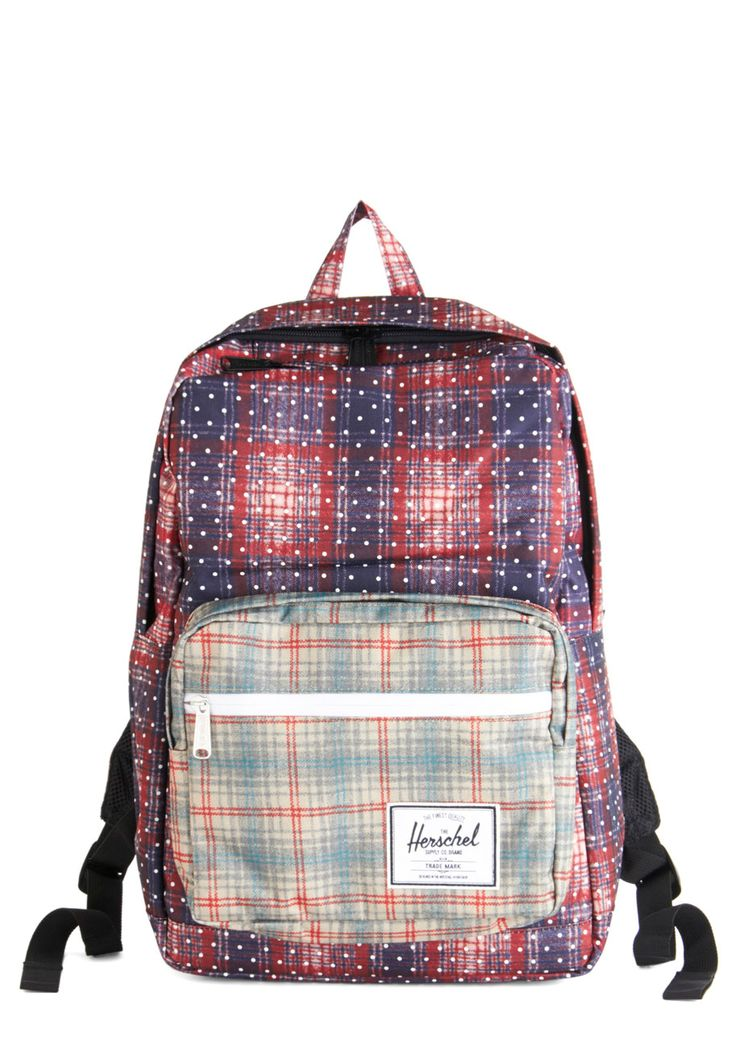 Design Language Backpack. Preparing for a busy week of designing is a breeze when you tuck your supplies into into this blue-and-red-plaid backpack by Herschel Supply Co. #red #modcloth