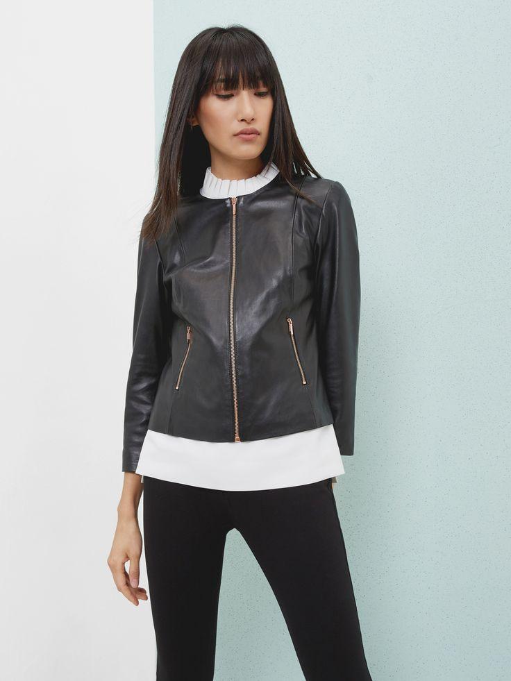 Collarless leather jacket - Black | Jackets and Coats | Ted Baker UK