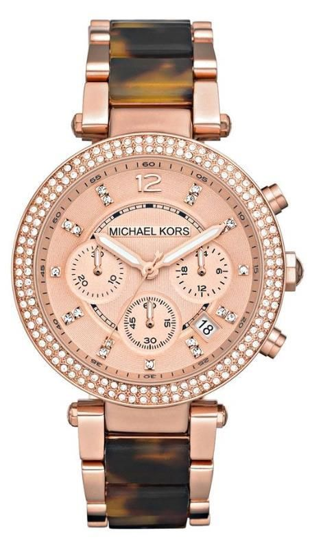 Michael Kors Watch, Women\u0027s Chronograph Parker Tortoise Acetate and Rose  Gold Tone Stainless Steel Bracelet - For Her - Jewelry \u0026 Watches - Macy\u0027s