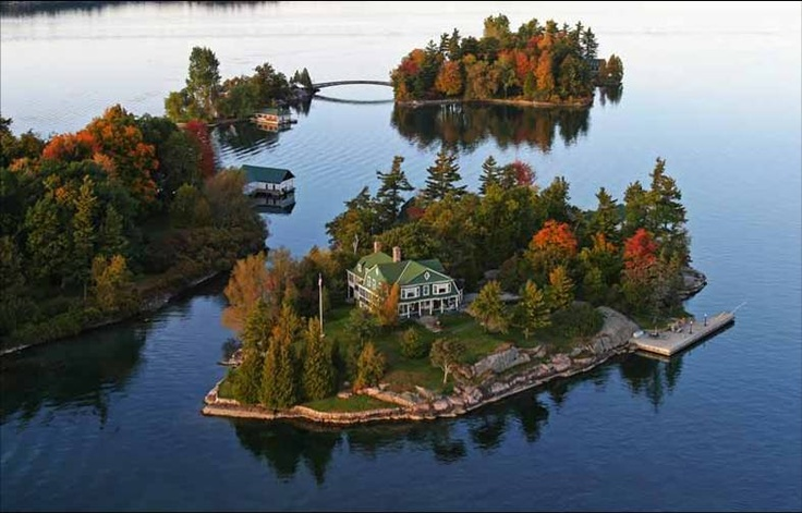 Canada's 'Thousand Islands'........time to go back, love this picture ....notice the little bridge between islands........
