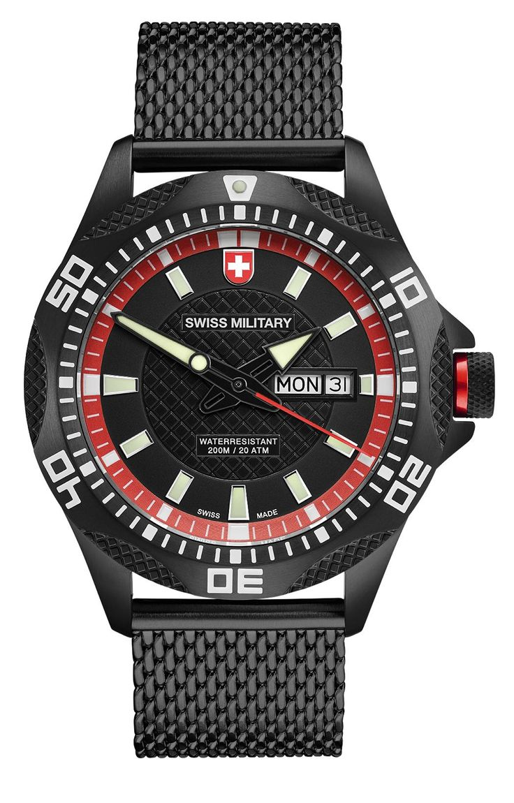 M's SWISS MILITARY day/date watch TANK NERO, Ronda cal. 517 Swiss Made quartz mvt., black/red dial, black PVD stainless steel case/mesh bracelet, screw-down crown, sapphire crystal, 20atm / 200m water resistance, black PVD plated stainless steel bracelet, width 22mm, with double pusher butterfly buckle, case: 44 mm, weight: 148gr. rrp = USD 722
