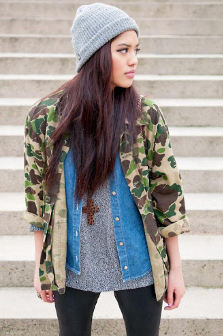 Mix & Match  Military Jacket, jeans vest, grey knitwear , black leather skinny pants