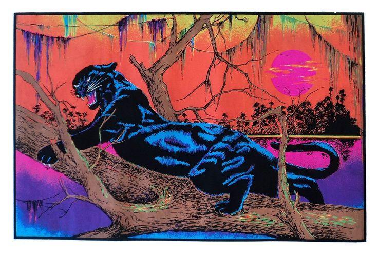 Vintage Black Light Poster - Jungle Cat - 1973