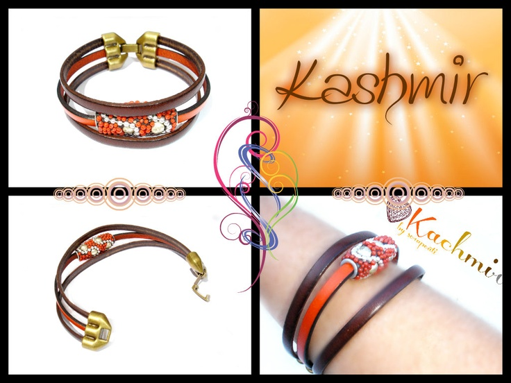 Beautiful handmade Leather Bracelet Kashmir Collection by scrapcati www.scrapcati.etsy.com