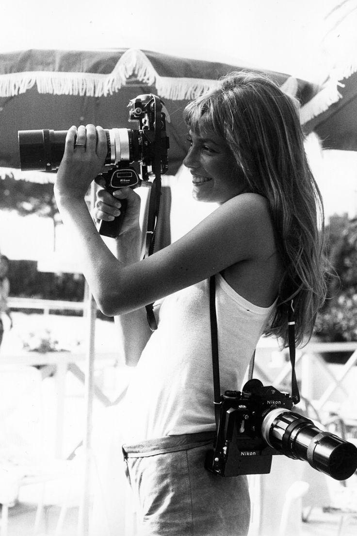 Jane and 2 cameras being photographed. META. http://www.manrepeller.com/2015/05/jane-birkin-style.html