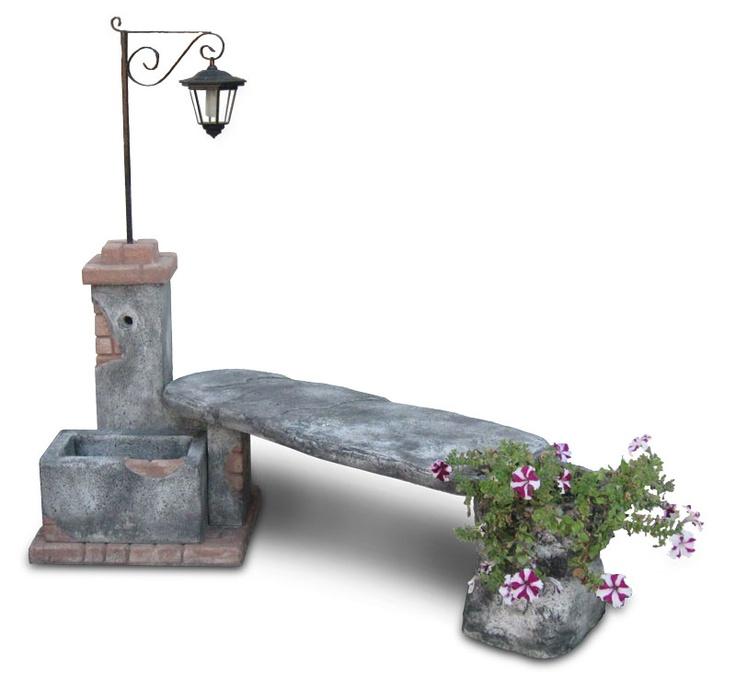 Fontana da giardino fonte del casale con panchina e lanterna solare antichizzata e