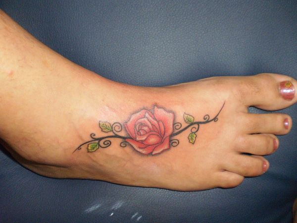 Gentle Rose Tattoo On The Foot