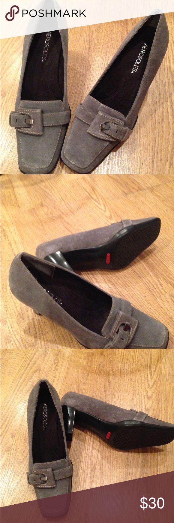 """Aerosols Dancing Queen Suede  Gray Ladies Shoe Dark gray  suede ladies shoe.                                Size - 8M.                                                                    Never  worn.                                                             3"""" Heel.                                                                     Comfortable and durable AEROSOLES Shoes Heels"""