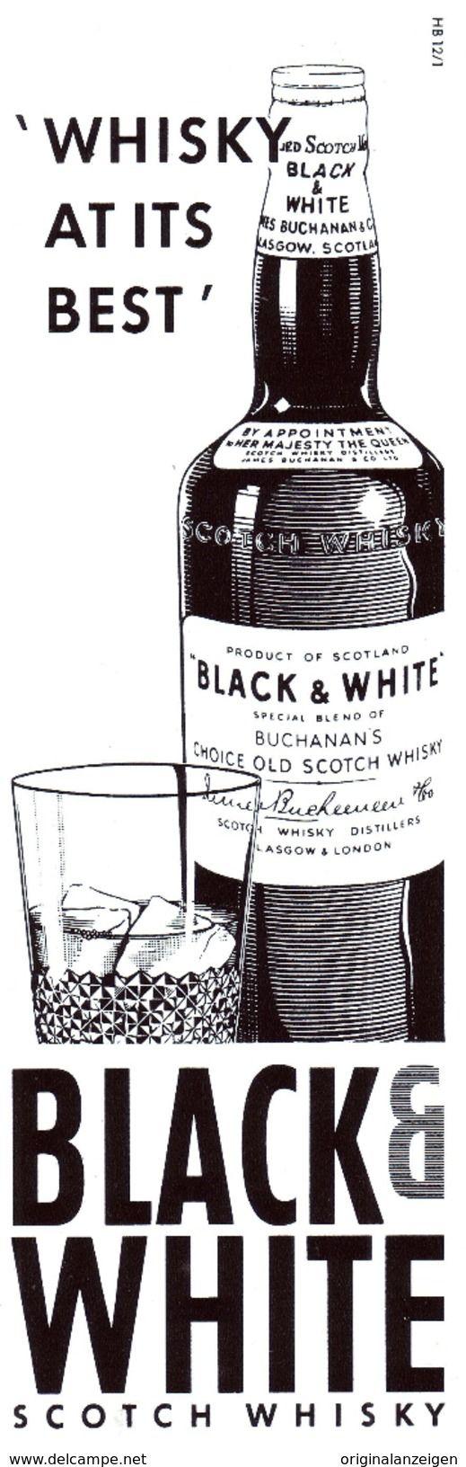 Werbung - Original-Werbung/ Anzeige 1961 - BLACK AND WHITE WHISKY - ca. 65 x 220 mm