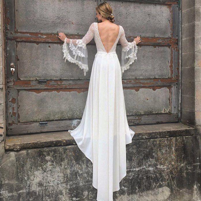 Sauvignon Gown by Claire Pettibone #clairepettibone #vineyardcollection #bohobride #boholuxe #modernbride #indiebride #laceweddingdress #longsleeveweddingdress #uniqueweddingdress