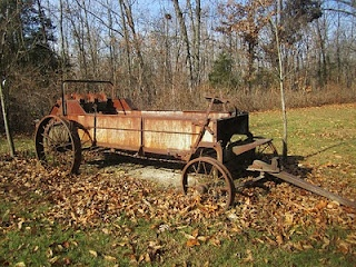 Rusty old manure spreader. We had one on our dairy farm.