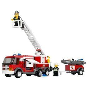 Lego City : Fire Truck Vehicle - 7239 by LEGO. $49.99. Includes 3 firefighter minifigs. 214 LEGO building pieces. Detailed assembly instructions. Build and drive your own Lego fire truck. Raise and lower the ladder to fight the fire. There's a fire in LEGO City but never fear, because the fire truck is on its way! The brave firefighters use all their gear to battle the flames and save the day. Raise and lower the ladder to fight the fire! Includes 3 firefighters. Ages 5+. 214 pieces