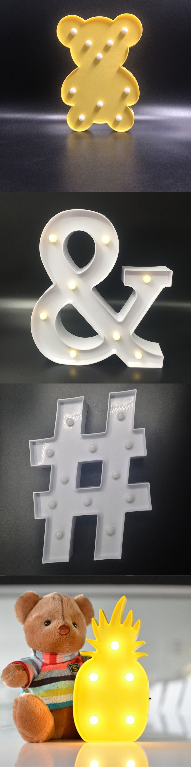 Cute Star Love & # Led Night Light Lamps On Wall For Home Bedside Nightlight for kids Toy Christmas Gifts
