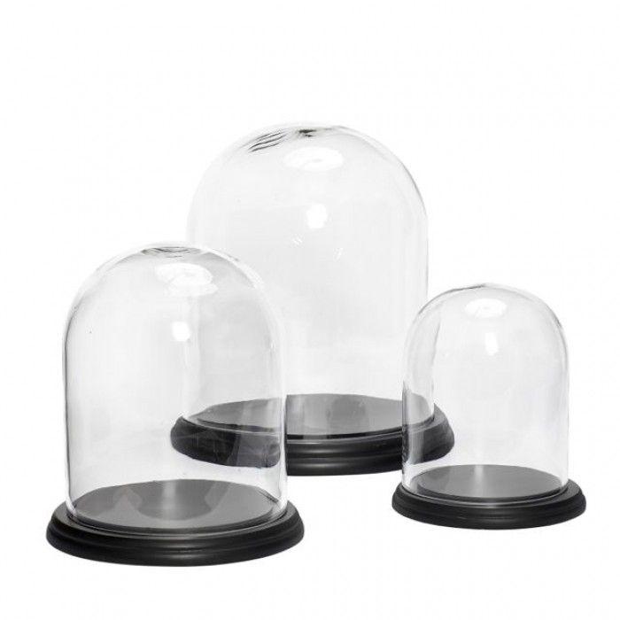 Hubsch glazen stolp zwart houten voet