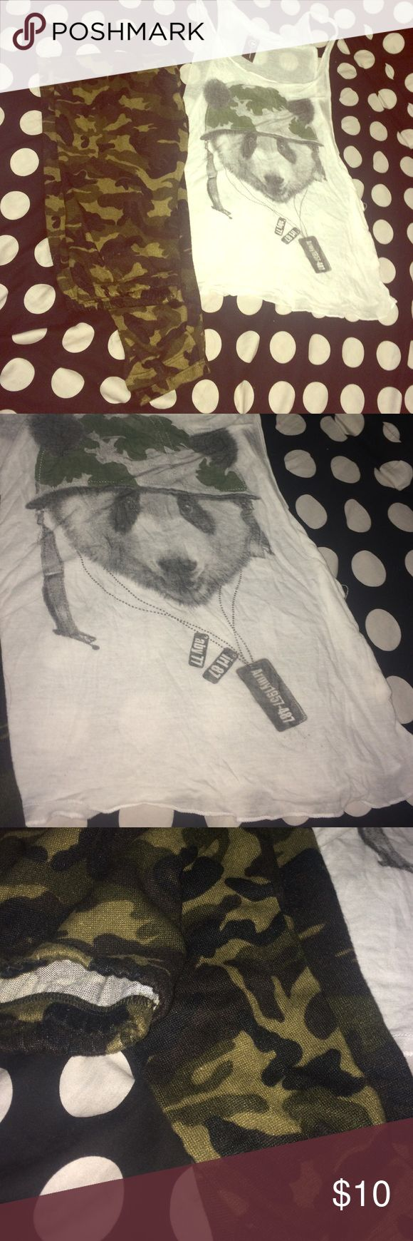 Army Outfit Panda oversized size small tank top, very light weight with some piling but barely noticeable. Medium felt like leggings Forever 21 Pants Leggings