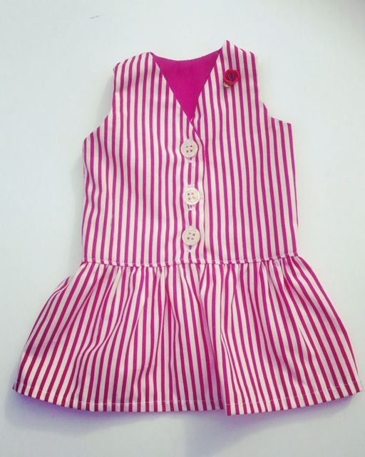 Cerise pink striped yachting dress for an 18 inch doll