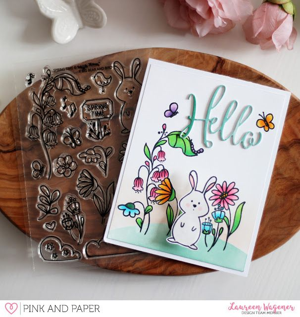 Hello bunny using the March Card kit 2018 | Laureen Wagener