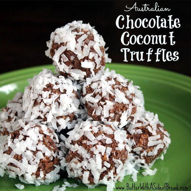 Australian Chocolate Coconut Truffles: Butter with a Side of Bread #nobakecookies