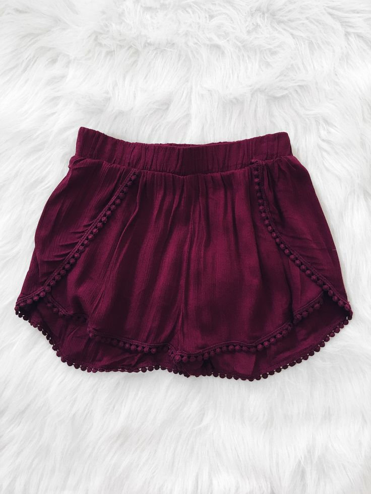 Pom Pom Hem Shorts (Burgundy)                                                                                                                                                     More