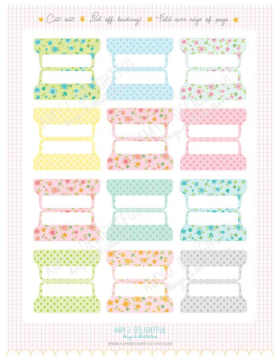 Printable Blank PLANNER FILE TABS - Digital File Instant Download- floral, polka dots, pastels Home Management