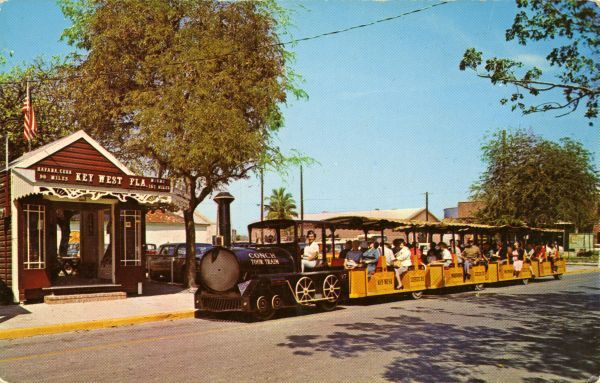 The depot and the 64 passenger Conch Tour Train in Key West, Florida (1960s). | Florida Memory