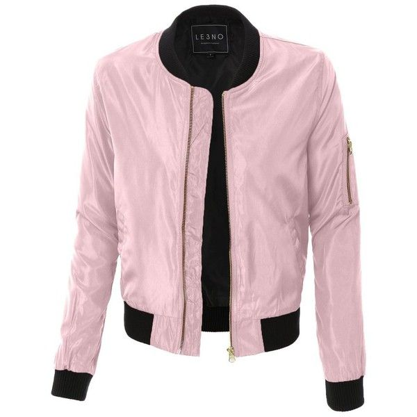 LE3NO Womens Lightweight Zip Up Varsity Bomber Jacket with Pockets (375 ARS) ❤ liked on Polyvore featuring outerwear, jackets, pocket jacket, teddy jacket, pink letterman jacket, lightweight bomber jacket and varsity jacket