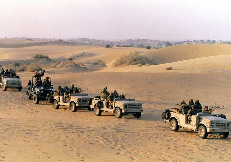 Indian Para Commandos drive home after war game in the Thar Desert of Rajasthan