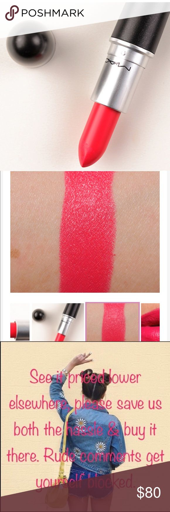 MAC Party Parrot warm coral natural finish RARE Brand new, no box. Has been in storage with all my lipstick in my makeup box. Never used. HARD TO FIND. RARE. LIMITED EDITION. Price is firm please. AUTHENTIC! MAC Cosmetics Makeup Lipstick
