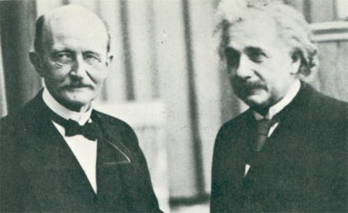 Einstein and Max Planck, the originator of the quantum theory which was important in the development of Einstein's theories.