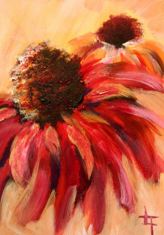 A Little Bit of Summer  Original Acrylic Flower by londonartgirl