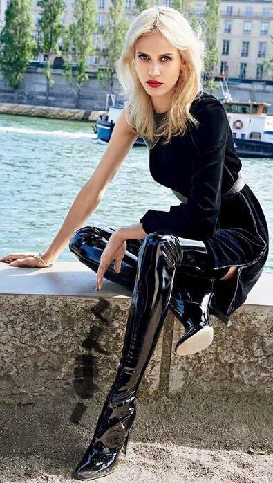 Shiny black patent leather thigh boots runway fashion