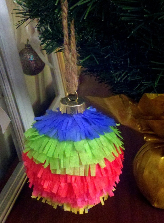 Handmade Pinata Christmas Ornament by HomeSweetDecor on Etsy, $10.00