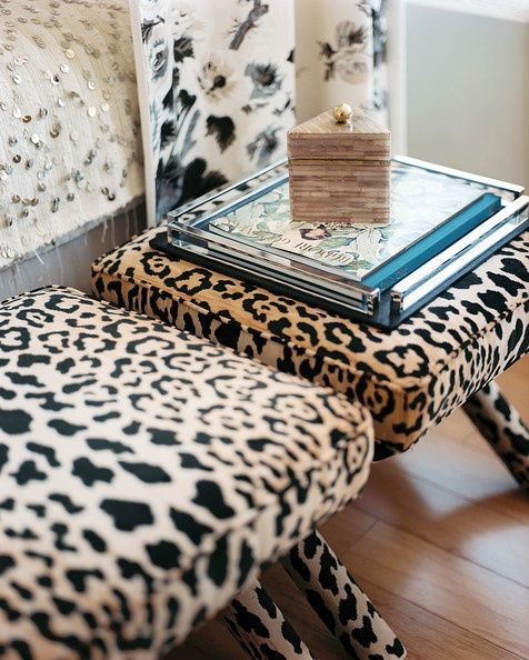 leopard-print benches