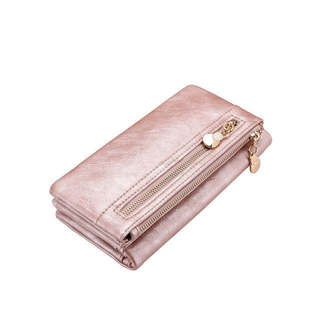 Double zipper wallet artificial leather