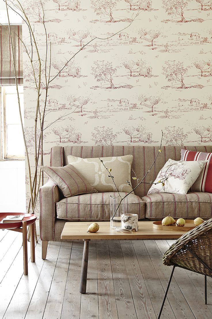 Nordic Stripe in Reindeer, Raspberry. For the Love of Rose  Wallpaper