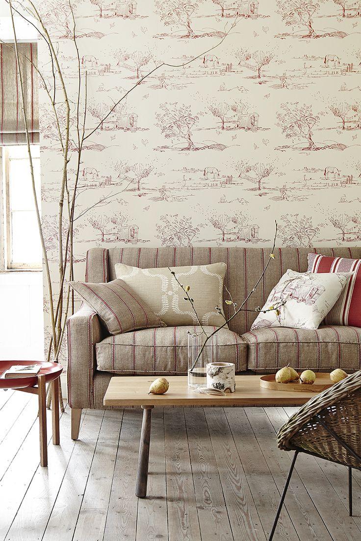 Nordic Stripe in Reindeer, Raspberry. For the Love of Rose Wallpaper